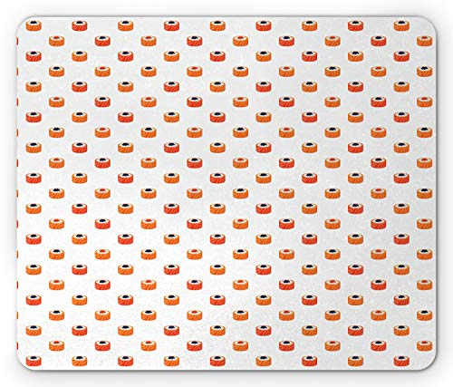 Ambesonne Sushi Mouse Pad, Repeating Food Pattern Raw Fish and Rice with Caviar Toppings Flat Style, Standard Size Rectangle Non-Slip Rubber Mousepad, Orange Salmon Dark Blue