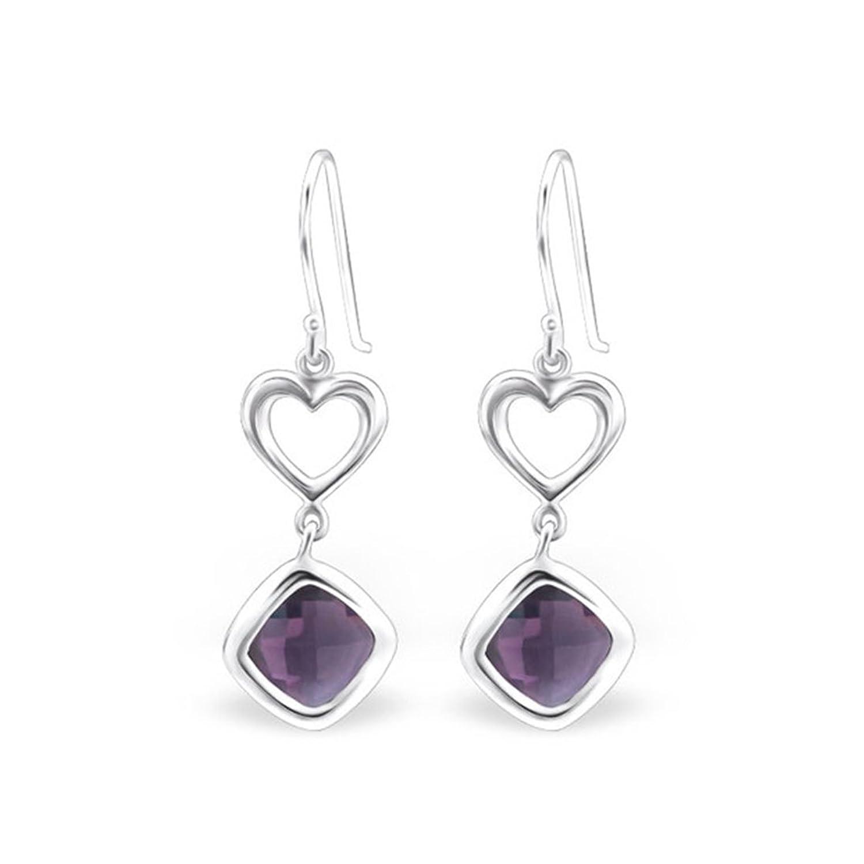 925 Sterling Silver + Glass Heart Plain Earrings Valentine'S Day
