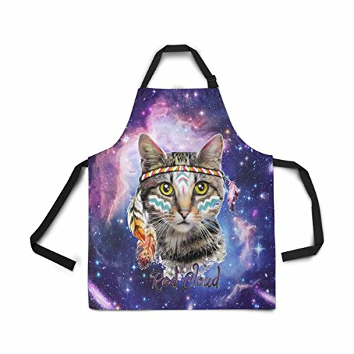 InterestPrint Abstract Star Galaxy Space Nebula Cat Apron for Women Men Girls Chef with Pockets, Hipster Animal in Universe Unisex Adjustable Bib Apron Kitchen for Cooking Baking Gardening Home by InterestPrint