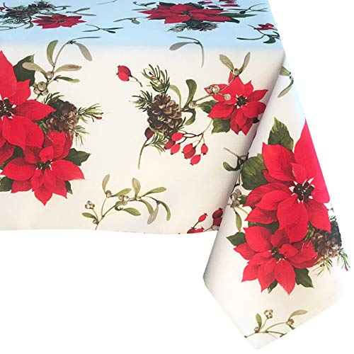 Newbridge Peaceful Poinsettia Allover Print Christmas Fabric Tablecloth, Holly Berry Xmas Print Cloth Tablecloth, 52 Inch x 70 Inch Oblong/Rectangle, Ivory