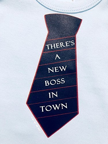 There's A New Boss In Town, Boss Baby Outfit, Boy Boss Shirt, Tie Baby Boy, Long Sleeve, Blue, Up to 12.5 lbs