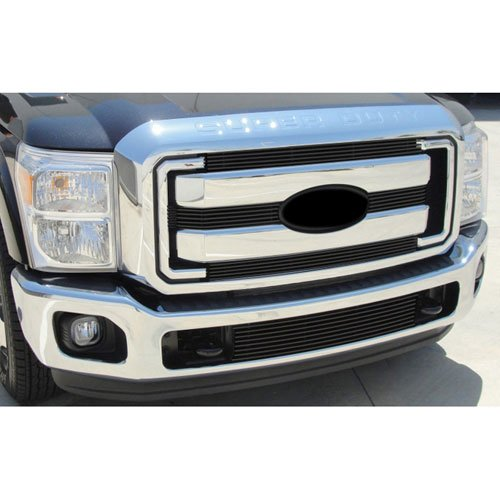 T-rex Vertical Upper Billet Grille - T-Rex Grilles 21546B Horizontal Aluminum Black Finish Billet Grille Overlay for Ford Super Duty