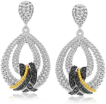 KATARINA Alternating Melee Diamond and EmeraldJ-Hoop Earrings in Sterling Silver 3//8 cttw, G-H, I2-I3