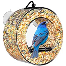BirdMaster Window Bird Feeder - Acrylic Circular Design - Squirrel Proof - Easy Installation & Cleaning - House All Types of Small Wild Birds [Gift-Ready Premium Packaging]