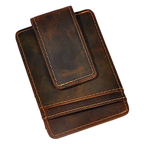 (Le'aokuu Genuine Leather Magnet Money Clip Credit Card Case Holder Slim Handy Wallet (Small Size W1058 Dark Brown))