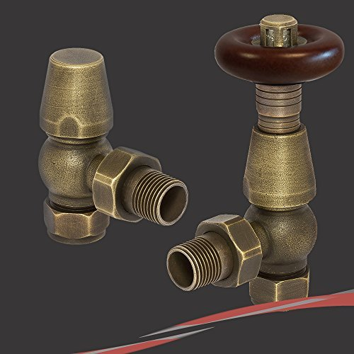 Angled Antique Brass Round Top Traditional Thermostatic Valves for Radiators & Towel Rails by Valves for towel rails & radiators