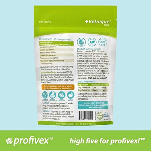 Profivex Probiotics Soft Chew Treats for Dogs: Easy to Give Daily Pet Digestive 5 Strain Probiotics with Prebiotics & Added Fiber from Sweet Potato - 30ct Pork Liver Flavor
