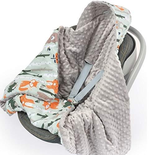 BabyBoom Babydecke Einschlagdecke Babyschalendecke Decke fü r Babyschale Universal fü r alle Autositze Gefü ttert 100% Baumwolle und Minky Gr. 90x90 cm, WALDTIERE grau Infantilo