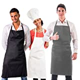 Professional Series Bib Apron 3 pack with Cell Phone and Recipe Card Pocket Black White Gray Restaurant Quality Apron