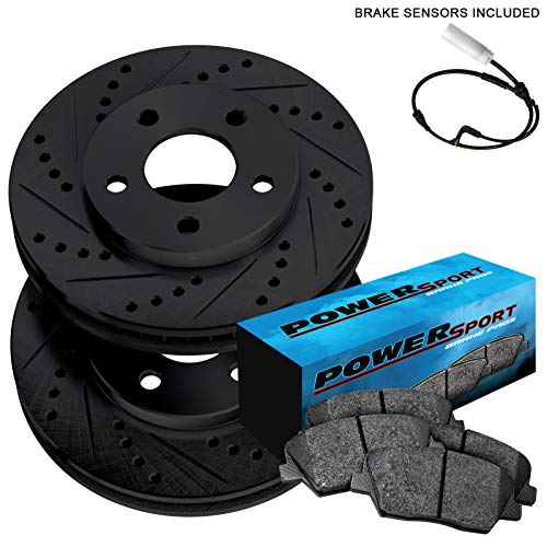 Fit 2011-2012 Jaguar XF Rear Black Drill Slot Brake Rotors + Ceramic Brake Pads ()