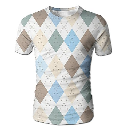 Pphy Argyle Plaid Pattern U-Neck Short Sleeve Mens Shirts Cotton Flannel Graphic Novelty Shirts For Men Tops (Pattern Top Argyle)