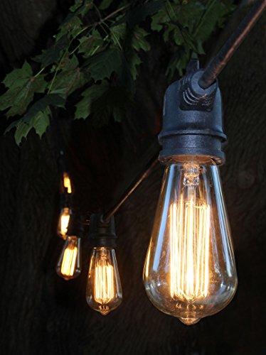 Decorative patio style outdoor or indoor lighting 48 foot weatherproof commercial grade black - Decorative patio string lights ...