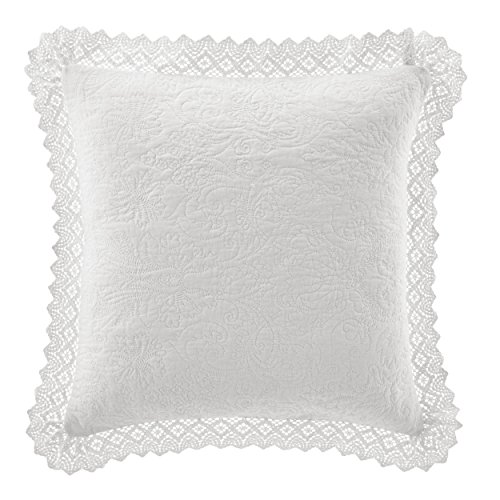(Laura Ashley Solid Crochet White Throw Pillow 16x16)
