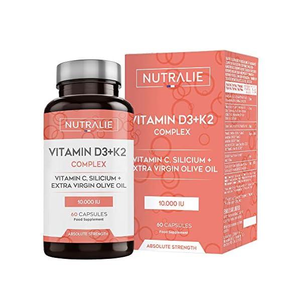 Vitamine D3 10.000 UI + K2 MK7 Haute Dose et Puissance   Contribue au Système Immunitaire, aux Os et Muscles grâce à la…