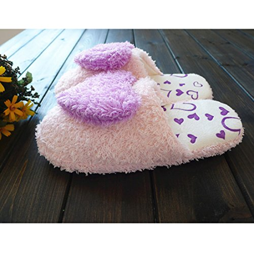 Women Cotton Blend Plush Padded Heart Slippers Home Anti-Slip Shoes Size 36-37 Pink 36-37 Purple QwjPUMSsNb