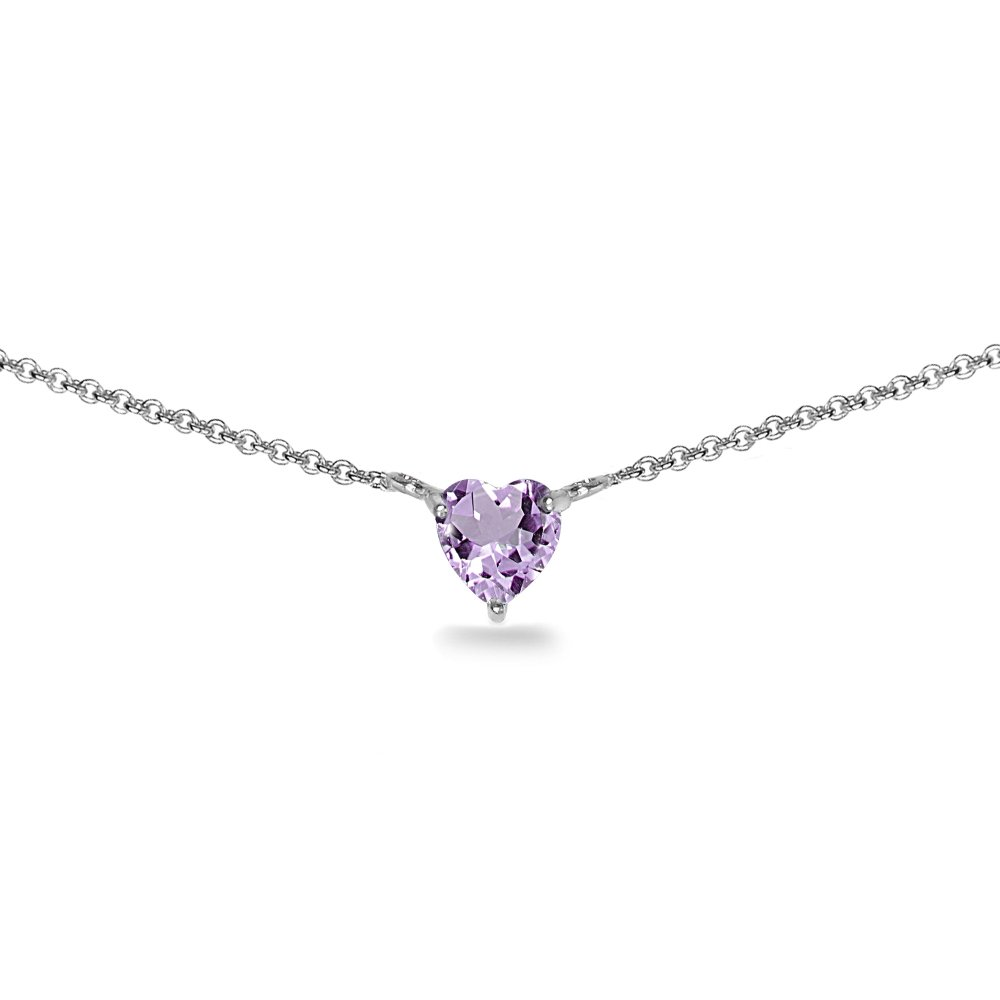 Sterling Silver Amethyst 7x7mm Heart Shaped Dainty Choker Necklace by GemStar USA (Image #1)