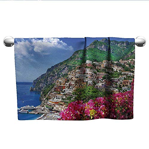 alisoso Italy,Beach Towels Scenic View of Positano Amalfi Naples Blooming Flowers Coastal Village Image Quick-Dry Towels Pink Green Blue W 14