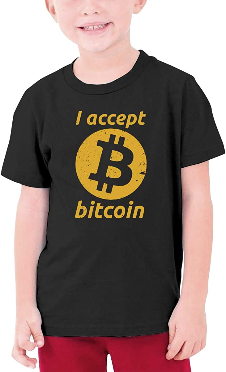EROTEN I Accept Bitcoins Cotton Youth T Shirts Short Sleeve for Teenager Boys Girls Black