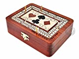 House of Cribbage - 2 Track - Wooden Cribbage Board / Box - Inlaid in Bloodwood / Maple Wood - Storage for Pegs & One Deck of Cards - 60 Points - Non Continuous