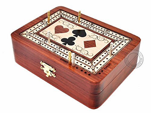 House of Cribbage - 2 Track - Wooden Cribbage Board / Box - Inlaid in Bloodwood / Maple Wood - Storage for Pegs & One Deck of Cards - 60 Points - Non Continuous ()