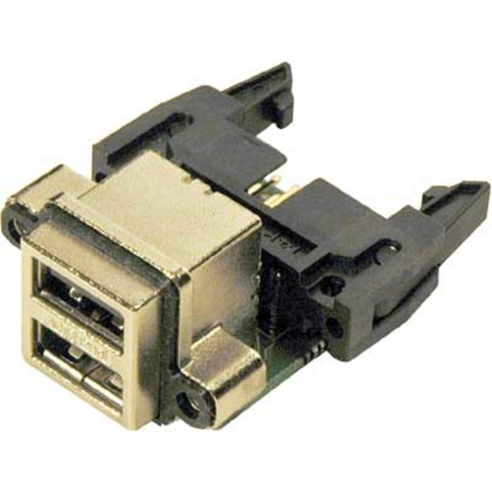 connector; usb receptacle; type a; stacked-2 port; right angle; pcb mount w/header, Pack of 2