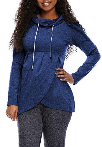 Yuare Women's Basic Soft Pullover Funnel Neck Vintage Fleece Asymmetric Hem Wrap Long Sleeve Casual Hoodie Sweatshirt Size L Blue -