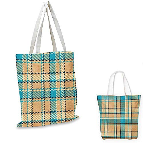 Checkered canvas laptop bag Zigzag Patterned Lines Ancient Celtic Culture Inspired Fashion canvas tote bag with pockets Cream Pale Blue Dark Blue. 12
