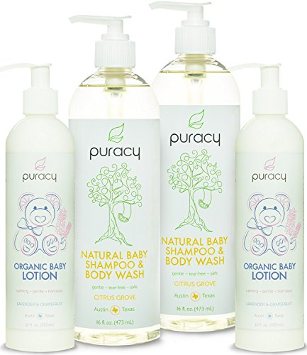 Puracy Natural and Organic Baby Care Gift Set, Baby Shampoo and Lotion, Sulfate-Free, Developed by Doctors, (Pack of 4)