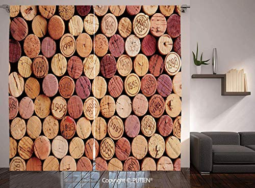 Thermal Insulated Blackout Window Curtain [ Wine,Random Selection of Used Wine Corks Vintage Quality Gourmet Taste Liquor,Mustard Mauve Maroon ] for Living Room Bedroom Dorm Room Classroom Kitchen - Christian Brothers Liquor