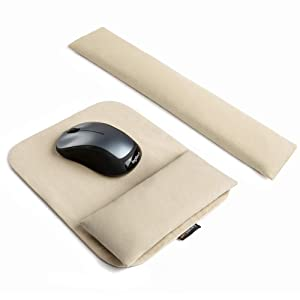 Handmade Keyboard Wrist Rest and Ergonomic Mouse Pad Set, Washable Keyboard Mouse Wrist Support Pad Bean Bag for Carpal Tunnel, Office Workers, Massage Ergobeads & Cotton Fabric, White