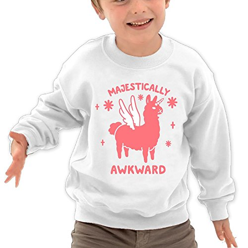 Price comparison product image Puppylol Majestically Awkward Llamicorn Kids Classic Crew-neck Pullover Hoodie White 3 Toddler
