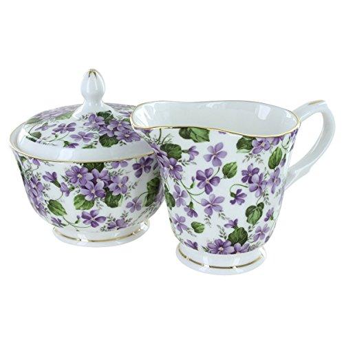 (Gracie's Violets Bone China - Sugar and Creamer Set)