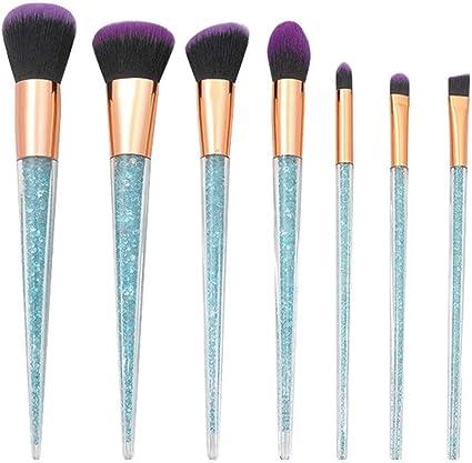 set de brochas para maquillaje 7-Pack mango de cristal transparente unicornio cónico, azul cielo: Amazon.es: Belleza