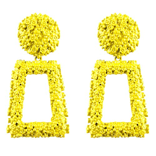 (Hollow Geometric Large Square Dangle Earrings Vintage Exaggeration Big Square Hoop Earrings for Women Fashion Jewelry (yellow))