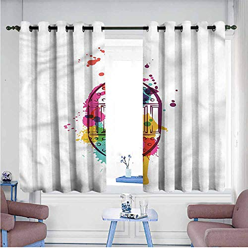 Mdxizc Windshield Curtain Lantern Artistic Color Splashes Durable W55 xL45 Suitable for Bedroom,Living,Room,Study, etc. ()