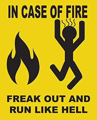 Freak Out And Run Like Hell Metal Sign Funny In Case Of Fire