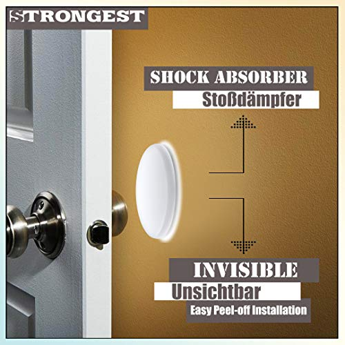 Strongest Wall Door Handle Stopper Set. 7 Pieces of White Silicone Door Knob 1.57\