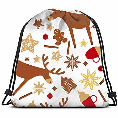 - christmas moose gingerbread anise holidays Drawstring Backpack Gym Sack Lightweight Bag Water Resistant Gym Backpack for Women&Men for Sports,Travelling,Hiking,Camping,Shopping Yoga