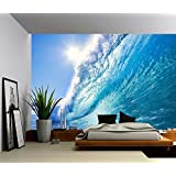 Picture Sensations Canvas Texture Wall Mural, Seascape Ocean Wave, Self-adhesive Vinyl Wallpaper, Peel & Stick Fabric Wall Decal - 48x36