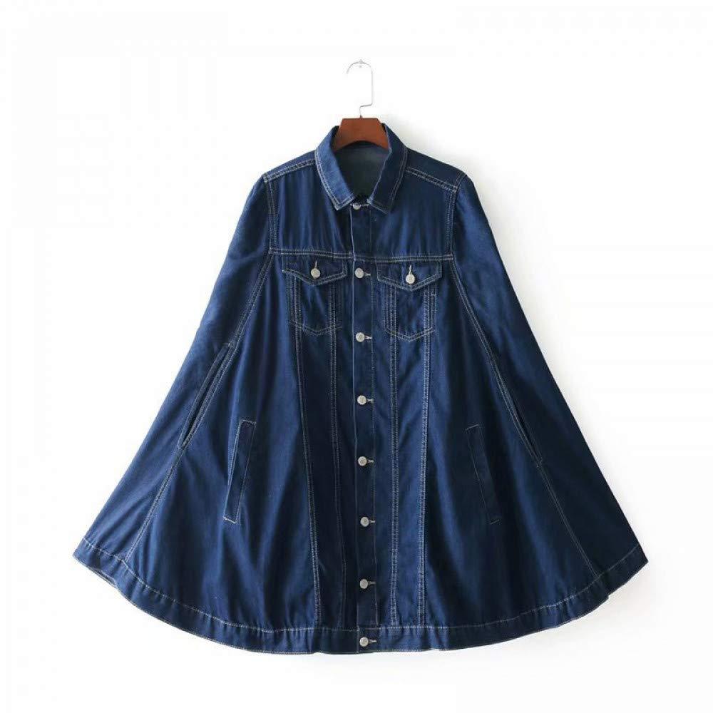 JIAKENVDE Vintage Lose Mantel Denim Mantel Frauen Herbst Flügelhülse Outwear Revers Einreiher Denim Mantel Für Frauen Jacken