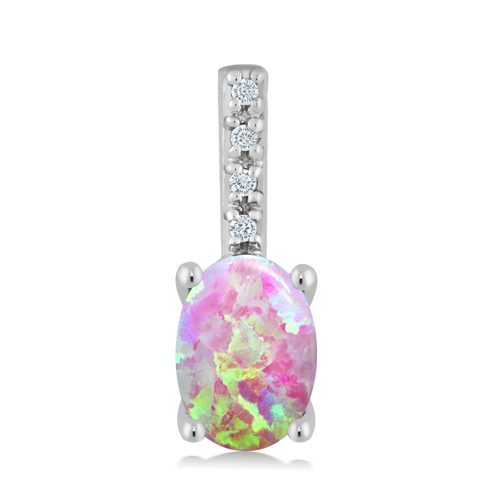 14K White Gold 0.63 Ct Oval Cabochon Pink Simulated Opal Diamond Bail Necklace