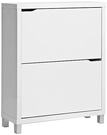 Gentil Baxton Studio Simms Modern Shoe Cabinet, White