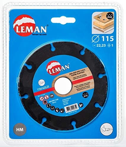 Leman Tungsten Carbide coated Cut-Off Disc for Angle Grinder for Wood, Wood with Nails, Plywood and PVC. 4.5 inch (115 mm) ()