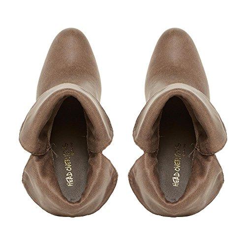 Head Over Heels by Dune - Botas de Material Sintético para mujer Marrón gris