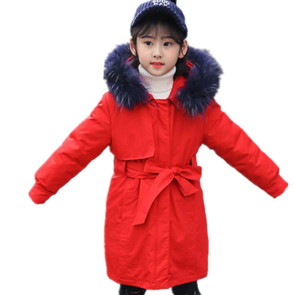 rouge 130cm RSTJ-Sjc Enfants Hiver Unisexe Section Moyenne et Longue Bas Veste épaissir col de Fourrure Capuche Outwear Chaud Coupe-Vent Un Portant Deux