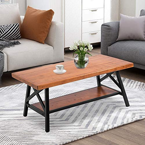 Industrial Coffee Table 43 Rustic Natural Wood and Metal Frame Coffee Table with Storage Shelf for Living Room Easy Assembly Coffee Table Rectangle