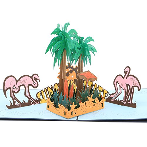 3D Pop Up Greeting Card - Lost In Exotic Realm of Flamingo and Palm Tree - Retirement Card, Happy Birthday Card, Congratulation Pop Up Card, Encouragement Card By AITpop