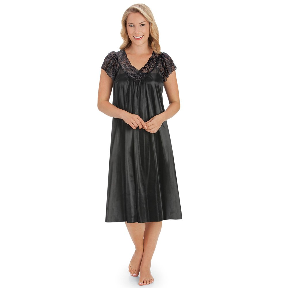 Collections Etc Women's Silky Lace Neckline Tricot Gown, Black, XX-Large