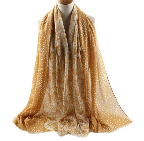 FEOYA Women Dot Floral Print Pashmina Scarf Silk Blend Long Beach Wrap Shawl Stole Yellow