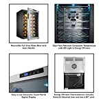 Electro Boss 28 Bottle Wine Cooler Thermoelectric Stainless-Steel Fridge for Red or White, Digital Display, Reversible Glass Door, Model #5335, Silver 10 STORES 28 BOTTLES- With 6 rows of removable chrome racks that hold 4 bottles each, this fridge provides ample space for storing wine, beer and other beverages. The blue interior LED light helps you make your drink selection and adds to the sleek style. THERMOELECTRIC- Save on your electric bill each month with this energy efficient, thermoelectric beverage chiller. The dual cooling fans circulate air evenly, maintaining the desired temperature and costs less than traditional compressor driven fridges. PERFECT TEMPERATURE- The key to enjoying a glass of wine is storing the bottle in a consistent temperature. Adjust the electronic thermostat of the wine cooler to 52-64°F or 11-18°C to create the ideal environment for both red and white wines.